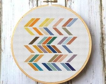Geometric chevron modern cross stitch pattern Modern cross stitch Retro cross stitch Hipster cross stitch Tribal stitch X070