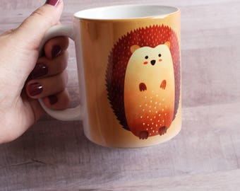 CERAMIC MUG. Tea/Coffee Hedgehog White and Glossy Ceramic Mug 11 oz. Dishwasher and Microwave safe.
