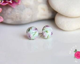 Dangle earrings - studs balls - SECRET GARDEN - molded and handpainted - immortal