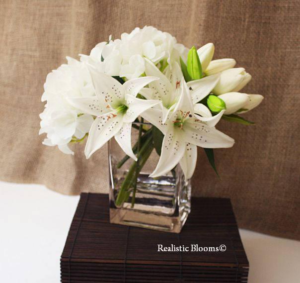 Silk floral arrangement white hydrangea lily lilies