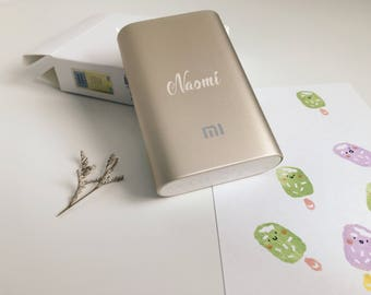 Personalized useful 10,000 mAH Xiaomi Power Bank/ Mobile Charger gift with custom name engraving