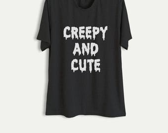 Creepy Cute TShirt Halloween T Shirt Scary Shirt Funny Slogan Tee Men Women Halloween Shirt Tumblr Fashion Cool Gift Ideas