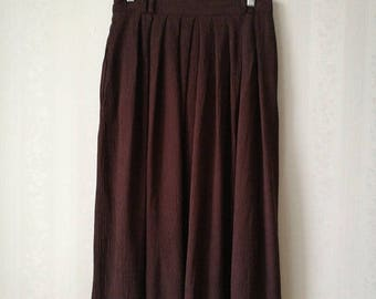 SUMMER SALE Dark Brown Pleated Maxi Skirt