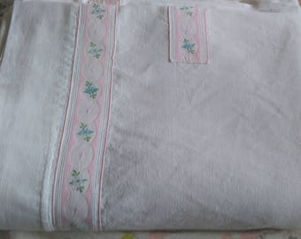 French linen sheet antique vintage large white pale pink embroidered trim, ladder work, very good condition bedroom