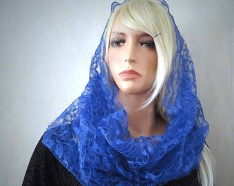 Royal Blue Lace Infinity Veil | Chapel Veil | Free Carry Pouch | Lace Chapel Veil | Blue Veil | Catholic Veil | The Veiled Woman