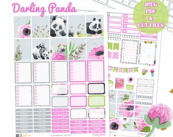 Panda Planner Stickers, Printable weekly kit, Animal stickers, Panda, use with Erin Condren, ECLP, floral, pink, glitter, kawaii, Cut files