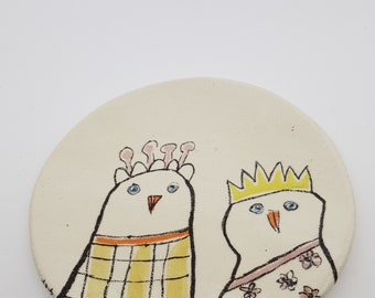 Hand Painted Decorative Plate Ceramic Plate with magical hen.  OOAK, 6006