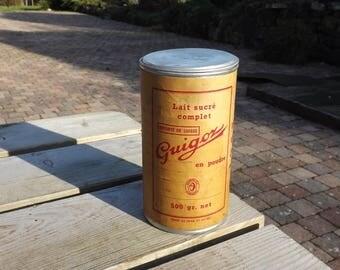 Guigoz boite tole . Old milk tin box. 1955 Vintage. Suisse