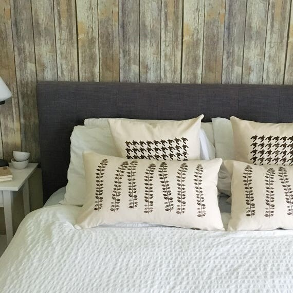 4 PILLOW COVER set!  Luxury bed pillows, brown accent pillows, Organic cotton canvas, houndstooth, botanical, balanced design, relaxing