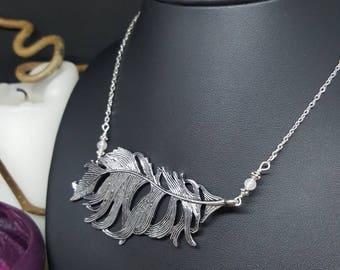 Big Feather necklace & Pink Quartz - feather - rose quartz - Bohemian - Angel - romantic - girly - hippy - gypsy - Valentine's day