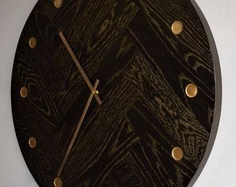 Large Herringbone Wall Clock