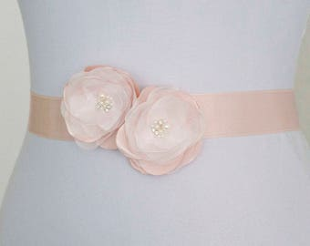 Blush Bridal Sash, Blush Pink Flower Bridal Sash, Pale Pink Sash, Bridal Gown Sash, Pink Flower Belt, Wedding Dress Sash, Formal Dress Sash
