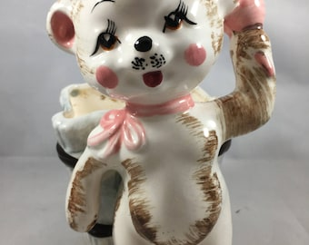 Vintage Bear With Long Eyelashes Ringing a Pink Bell with Bow Midcentury Planter