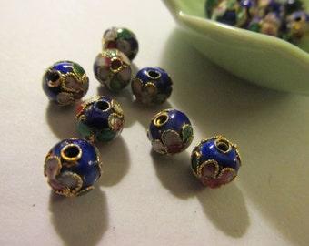 Royal Blue Chinese Cloisonne  Enamel Floral Beads, 7mm, Set of 6