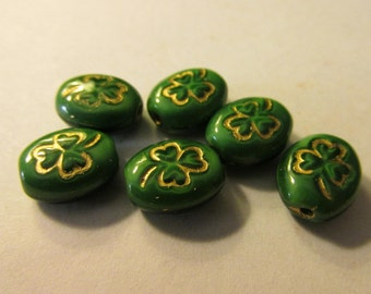 St. Patrick's Day Green Czech Glass Oval Beads with Golden Clover Leaves, 10mm, Set of 6