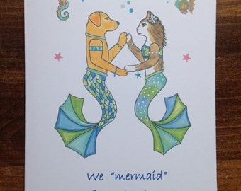 Mermaid for Each Other greeting card - Yellow Lab and Cat Mermaid - Dog and Cat Mermaids - Mermaid Greeting Card