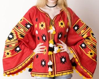 Women linen blouse vyshyvanka mexican style. Mexico embroidered blouse Bohemian Style ukrainian vyshyvanka gipsy blouse Kilim blouse