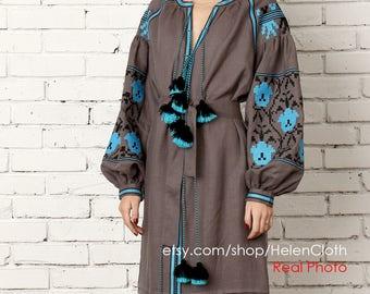 Ukrainian Vyshyvanka Embroidered Dress Linen Gray Tunic Bohemian Linen Dress Kaftan Abaya Mexican dress Gray Midi Dress Folk Ethnic Style