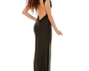 Black Prom Dress Open Back Maxi Dress Elegant Party Dress Formal Bridesmaid Dress Boho Dress