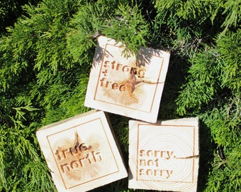 carved saying rough wood block | 6x6