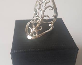 Minimal Filigree Vine Ring -  Solid Sterling Silver - Adjustable Full Finger/Knuckle Ring