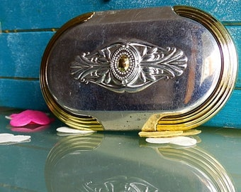 French vintage mirror compact small purse mirror pocket decorative silver gold midcentury french