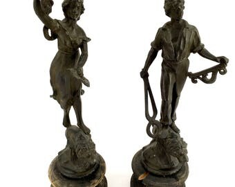 Pair of antique French pewter figurines