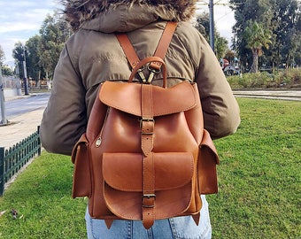 Leather Backpack, Women's Backpack, Leather Rucksack, Brown Leather Backpack, Schoolbag, Made in Greece from Full Grain Leather, LARGE.