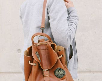 Women's Backpack, Brown Leather Backpack, College Bag, Made in Greece from Full Grain Leather, LARGE