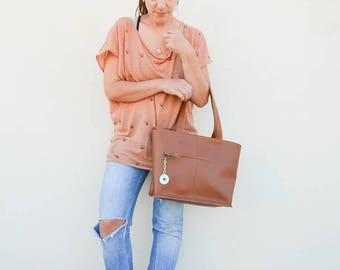 Leather Tote Bag, Leather Purse, Brown Leather Handbag, Shopping Bag, Made in Greece by Christina Christi Jewels, LARGE size.