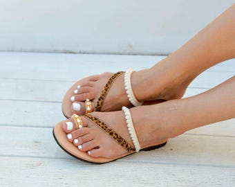 Leather Sandals, Leather Flat Sandals, Women's Sandals, Greek Sandals, Summer Shoes, Gift for Her, Made in Greece from 100% Genuine Leather.