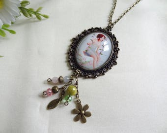 Vintage glass dome cabochon necklace handmade little girl on swing
