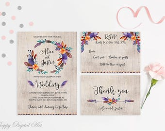 Floral Wedding Invitation Printable Boho Chic Wedding Invitation Suite Bohemian Wedding Invite Tribal Wedding Invitation Rustic Wedding Set