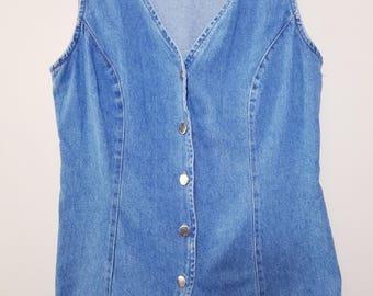 Vintage Jean Vest // Vintage Denim Vest // Men's Jean Vest // Women's Jean Vest