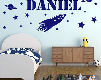 ROCKET Personalised ANY NAME Space Planet Universe Stars Boys Childrens Bedroom Matt Vinyl Wall Art Sticker Decal Ft23 20 colours / 3 Sizes