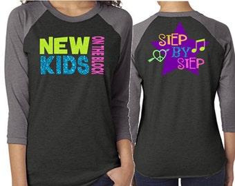 Glitter New Kids on the Block Baseball Shirt Customized NKOTB  Shirt