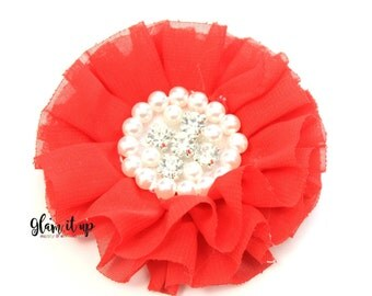 Chiffon Flowers-Pearl chiffon flowers-ruffle chiffon flowers-3.5 in flowers-headband flowers-flowers for headbands-diy headband-red