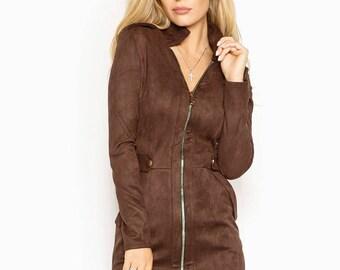 Eco-suede dress casual wear Midi dress Brown dress Long sleeve Casual women's dress Emerald knee dress Eco-suede Marsala gown women's