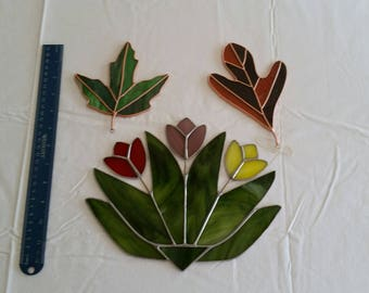 3 piece vintage stained glass tulips & leaves sunchatchers - window hanging hand made color leafs - rustic maple oak art deco sun catcher