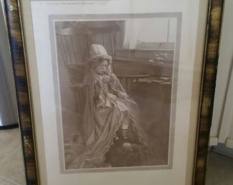antique framed litho art print 1916 - playing grandma by c durand chapman - ladies home journal ornate victorian girl picture photo deco