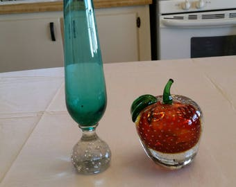 set of 2 controlled bubbles blown glass paperweight & bud floral vase - red green teal green office supplies - art studio glassware flower