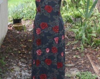Romancia Dress | 90's Red Rose Maxi Dress S/M