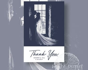 Custom Photo and Color Wedding Folded Thank-You Cards -  Digital File or Printed -  Vertical or Horizontal