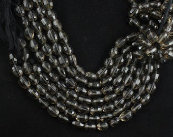 AAA Quality Natural Smoky Oval Faceted Beads,Smoky Step Cut Faceted Beads length 8 Inch long, Size 8x10 To 10x12 MM