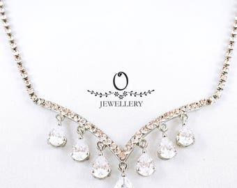 Tear Drops Crystal Necklace Set