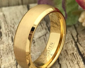 6mm Gold Tungsten Wedding Ring, Personalized Engrave Gold Plated Plated Tungsten Ring Tungsten Wedding Band, Tungsten Wedding Ring