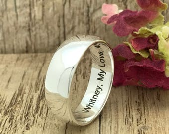 8mm Sterling Silver Wedding Ring, Promise Ring, Personalized Engrave Wedding Ring, Men's Wedding Band, High Polish