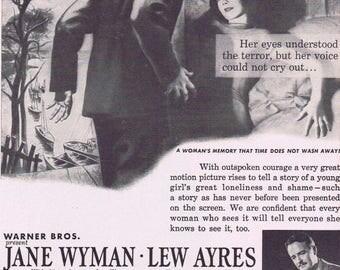 Johnny Belinda 1948 Controversial Original Vintage Movie Ad with Jane Wyman and Lew Ayres