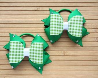 Pair of Green Gingham School Bows, Green School Bows, Green Gingham Bows, Green Bows, Back To School Bows
