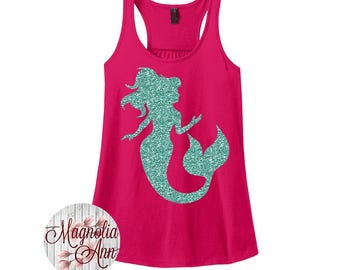 Mermaid, Beach, Summer, Women's Racerback Tank Top in 9 Colors in Sizes Small-4X, Plus Size